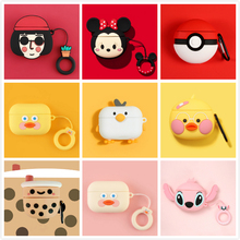 3D Earphone Case for Airpods Pro Cute Silicone Cartoon Headphone/Earpods Cover Apple Air Pods 3 with Keychain