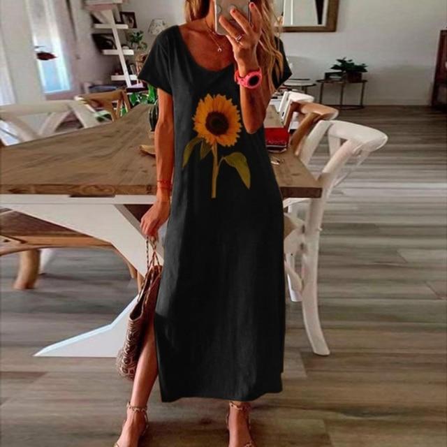 Vintage Butterfly Daisy Print Summer Dress 1
