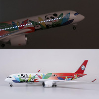 1/142 Resin Aircraft Model 47cm Sichuan Airlines Airbus A350 Aircraft Model with Sound Light Collection Child Gift Decoration