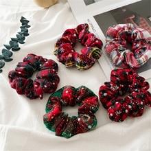 Рождество большой кишки круг волос трикотажные резинки для волос женские галстуки для волос девушки конский хвост держатель фестиваль ткань аксессуары для волос