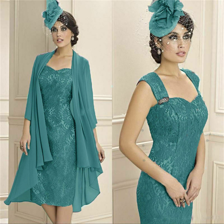 Turquoise Sheath Lace Mother Of The Bride Dresses Suits With Chiffon Jackets Knee Length Fitted Mother's Wedding Party Dress