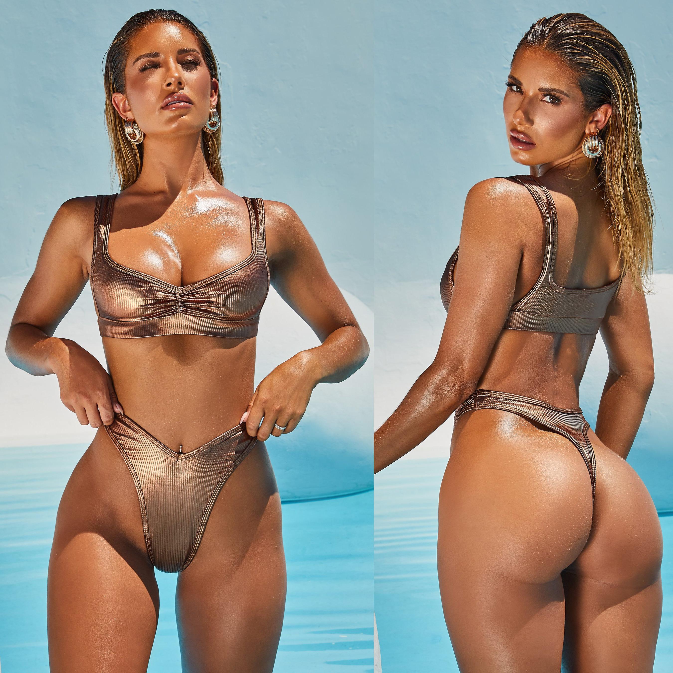 Hirigin Sexy Thong Bikini Women 2020 New Swimwear Summer Push Up Padded Bathing Suit Biquini Swimming Suit Brazilian Beachwear