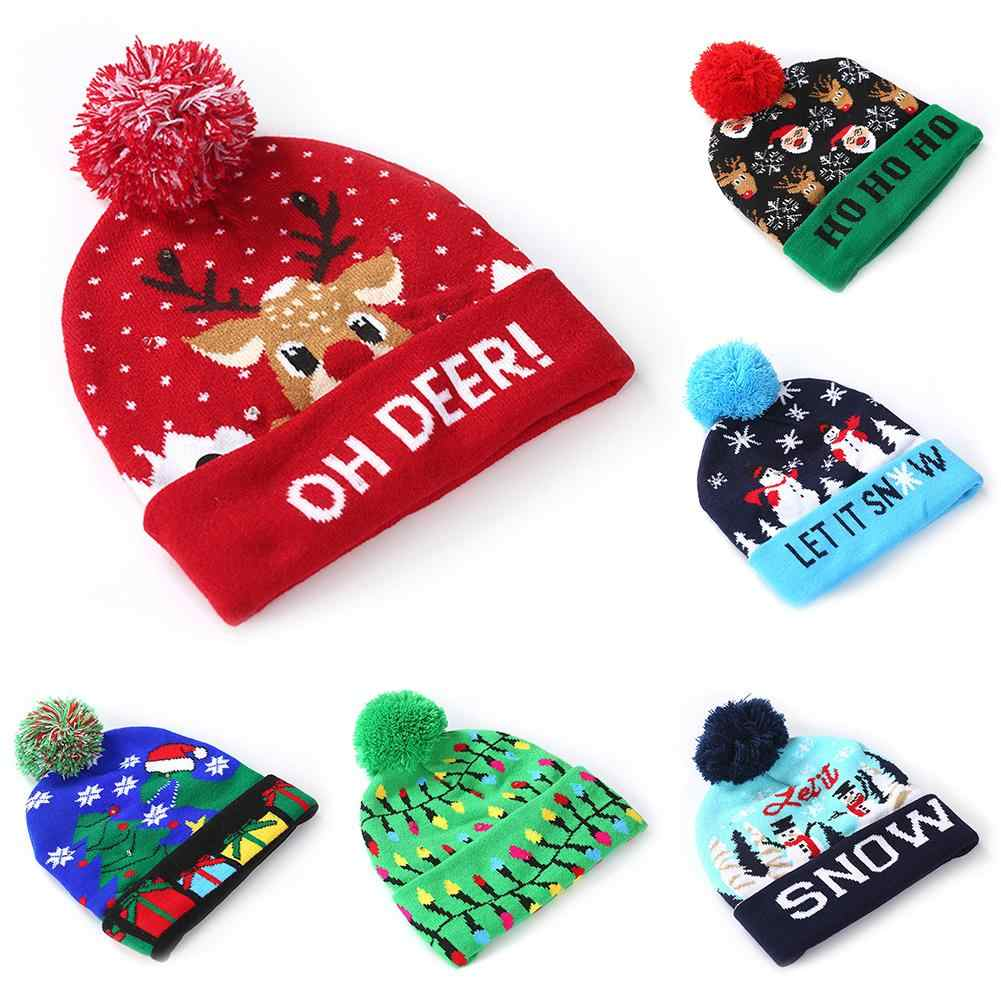 Christmas Hat with 3 Colors Light Soft Warm Christmas Santa Elk Snowman Print Christmas Hats Beanie Knitted Cap Hat kids Adults