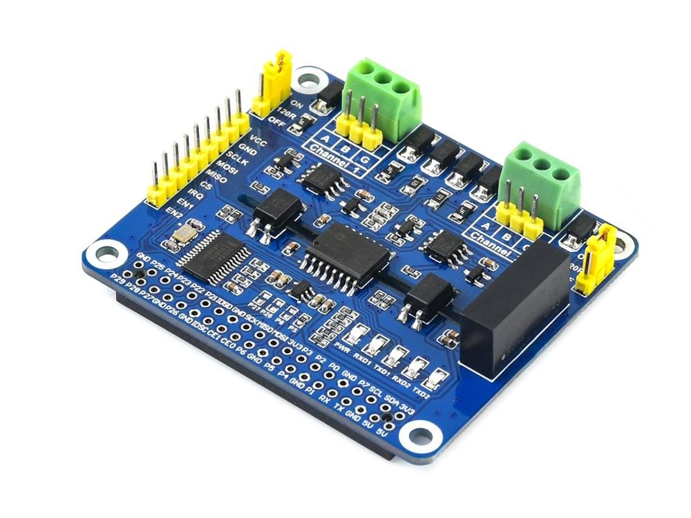 2-Channel Isolated RS485 Expansion HAT For Raspberry Pi, SC16IS752+SP3485 Solution, With Multi Onboard ProtectionCircuits