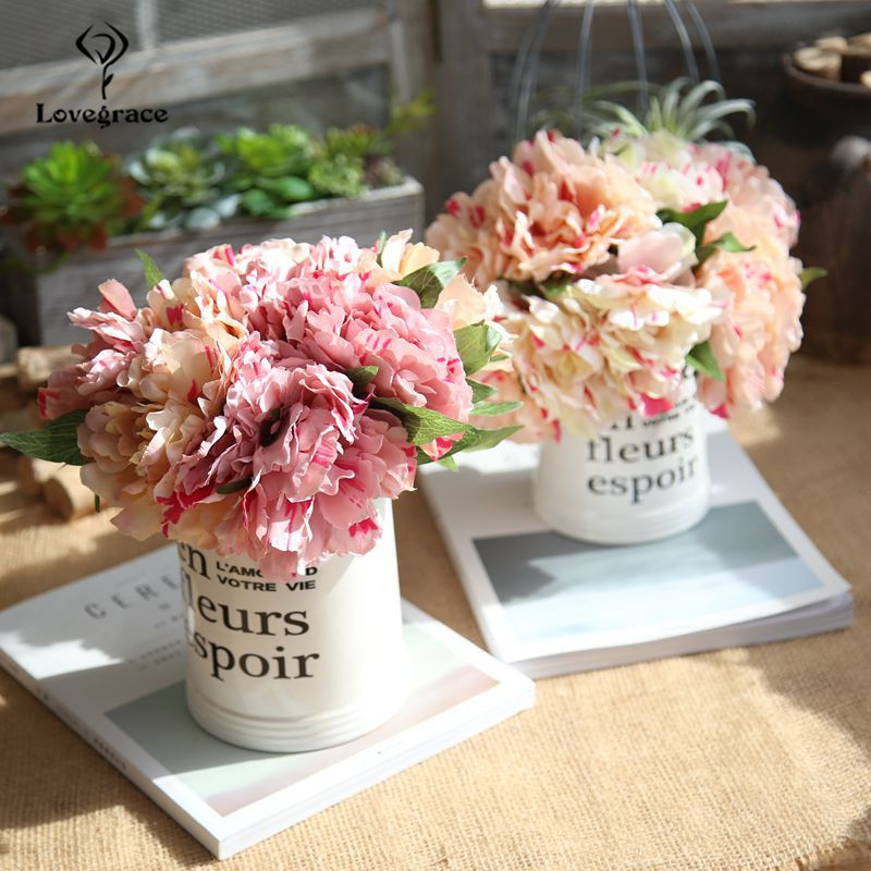 5 Heads Artificial Flower Peony Holding Wedding Bouquet Silk Flowers Peonie Bouquet For Home Party Table Fall Decor Fake Flowers