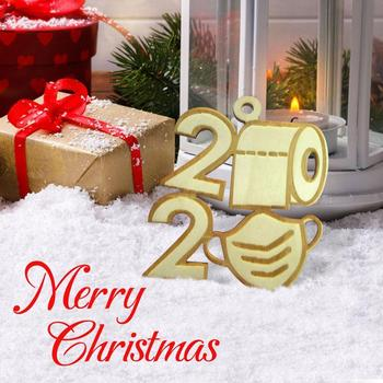 2020 Quarantine Christmas Toilet Paper Pendant Personalized Wood Year New Snata Ornament Decoration Gift Home J0O6 image