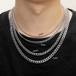 Men's Chain Necklace Stainless Steel Jewelry On The Neck Chain male Personality Hip Hop Necklace Fashion Accesories For Men