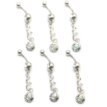 1 new cute navel ring color random 316L surgical steel perforated puncture body jewelry