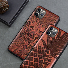 цена на New Carved Wood Case For iPhone 7 8 6s Plus iPhone Se 2020 Natural Wooden TPU Phone Case For iPhone 11 Pro XR XS Max Phone Cases