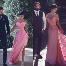 Celebrity Dresses Satin Carpet Evening Lace New Red Pink Floor Appliques Prom-Gowns Dusty