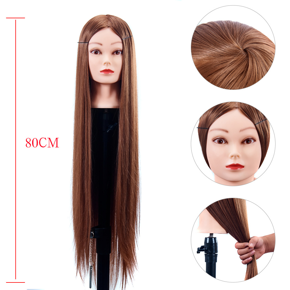 80cm Female Mannequin Head with Synthetic Hair For Practice Hair Braiding Hairstyles Dolls Hairdressing Styling Training Head