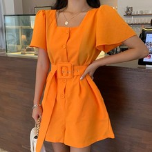 New Fashion Square collar Summer Women's short Sleeve Jumpsuit High Waist Sashes