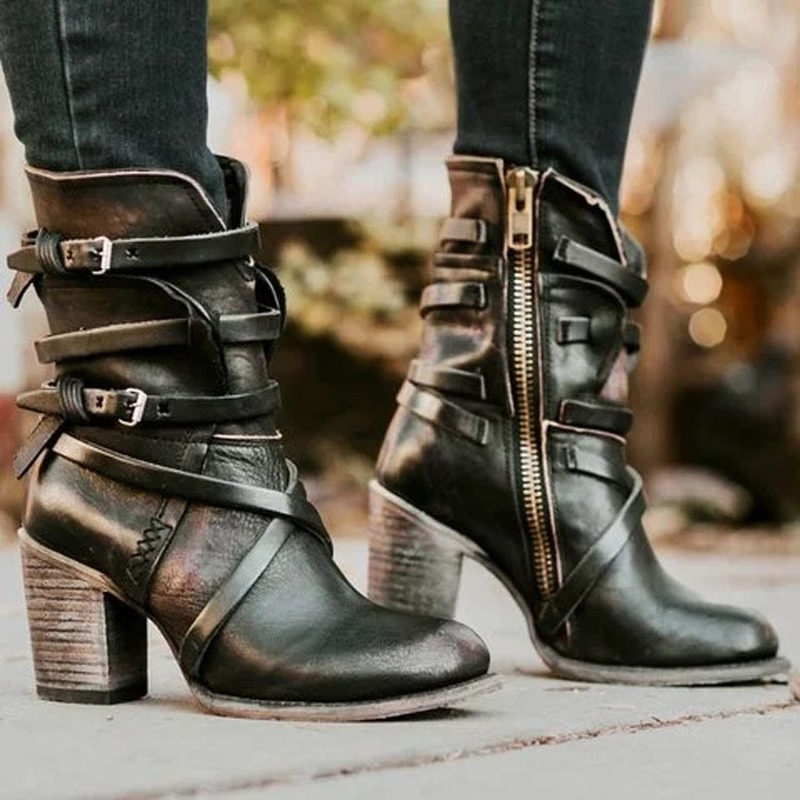 2019 Fashion Punk Gothic Style Buckle Strap Round Toe Boots Women Shoes Zipper Boots Street Haulage Motor Mujer Zapatos image