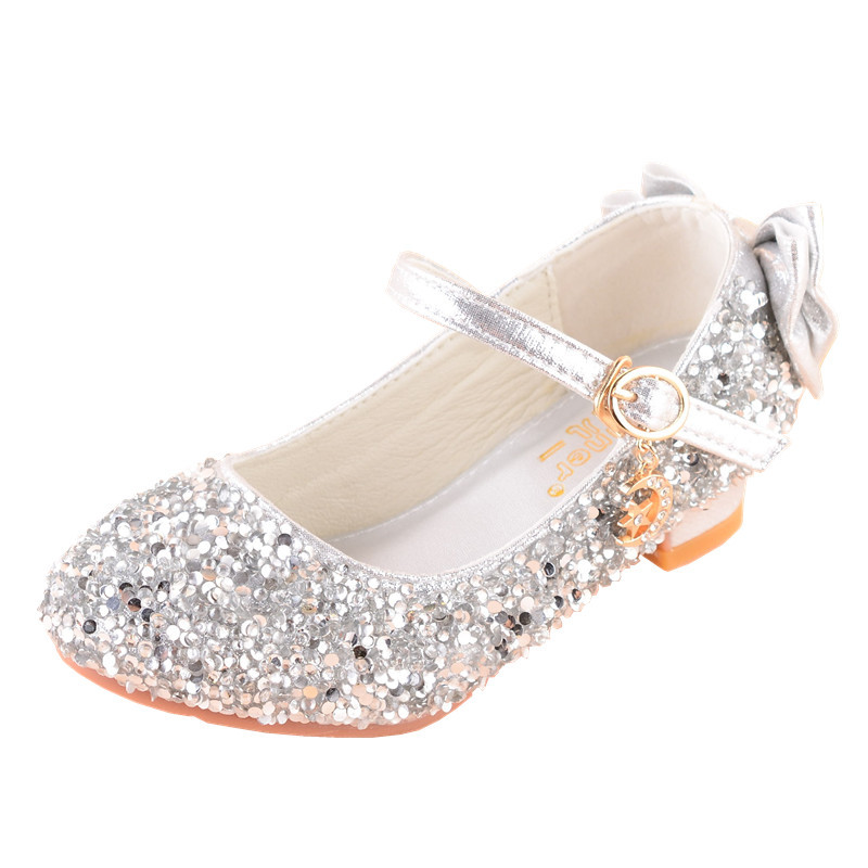 High Heel Sequin Dress Princess Shoes School Kids Bow Little Girl Shoes For Children Party Wedding 3 4 5 6 7 8 9 10 11 12 Years