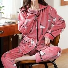 2021 Winter Pajamas Set Women Sleepwear Warm Flannel Long Sleeve Pajamas Set Cute Print Home Wear Xmas Thicken 2pcs Suit Pijamas