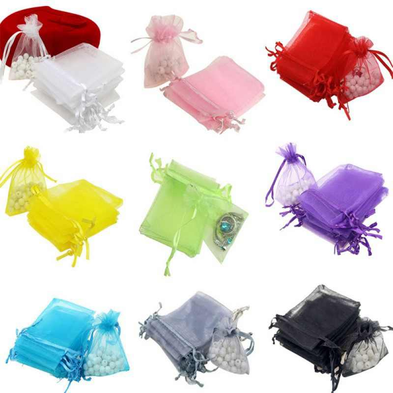 Organza Jewelry Gift Bag Drawstring Type Jewelry Portable Wedding Supplies Multi-colors Gift Wrap For Party Gift Decoration