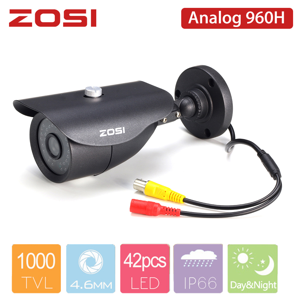 ZOSI HD 960H Len 1000TVL CMOS Sensor Analog Camera Day/night View Waterproof Indoor / Outdoor For Bullet CCTV DVR System