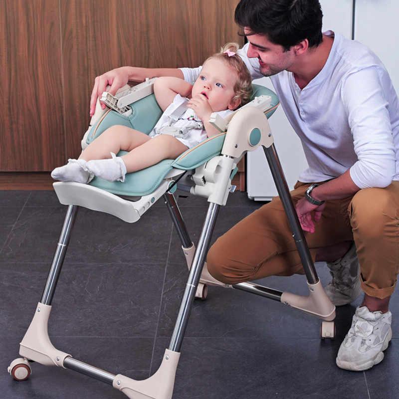 Bebek parlayan bebek sandalyesi PU koltuk yüksek sandalye yükseltilmiş tekerlek kalınlaşmış boru katlanabilir yumurta mama sandalyesi masa bebek çok fonksiyonlu