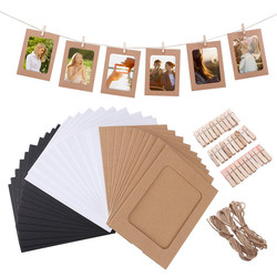 10 Pcs Combination Paper Frame with Clips DIY Kraft Paper Picture Frame Hanging Wall Photos Album 2M Rope Home Decoration Craft
