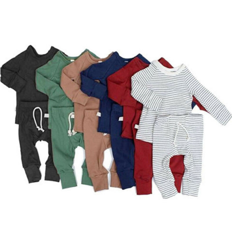 Pudcoco Spring Autumn New Infant Baby Boy Girl Tops T-shirt+Long Pants Outfits Pajamas Pjs Clothes Set 0-24M