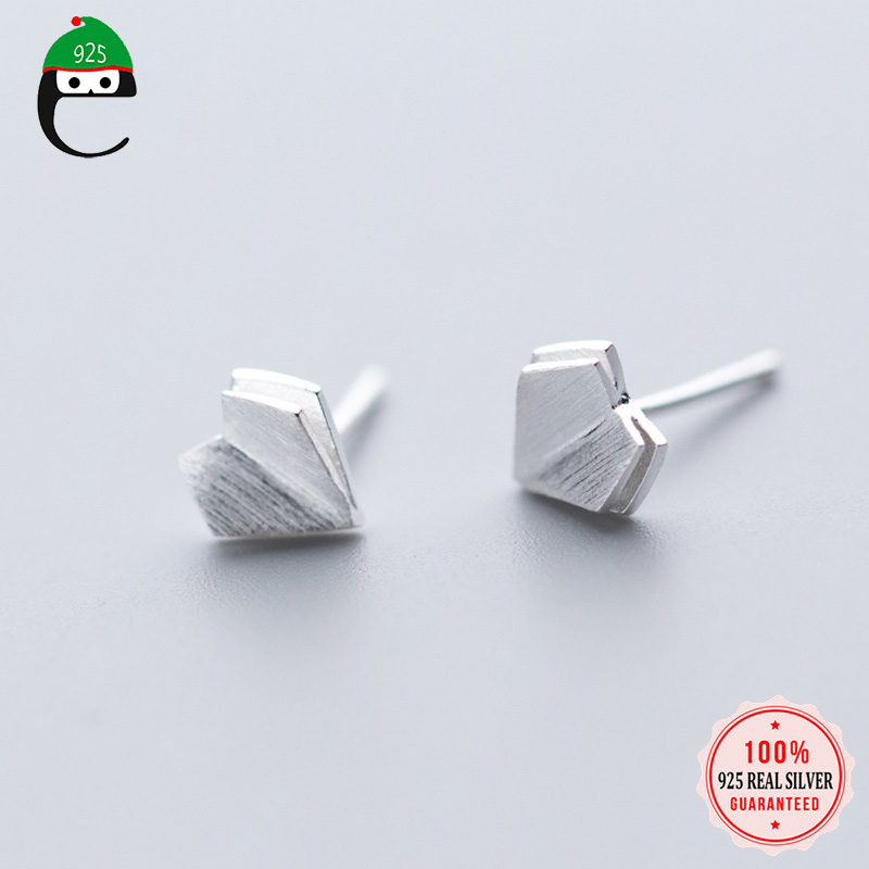 ElfoPlataSi Heart Paper Airplane Stud Earring For Women Girl Friend Kid Lady 100% 925 Solid Real Sterling Silver Jewelry ED264 image
