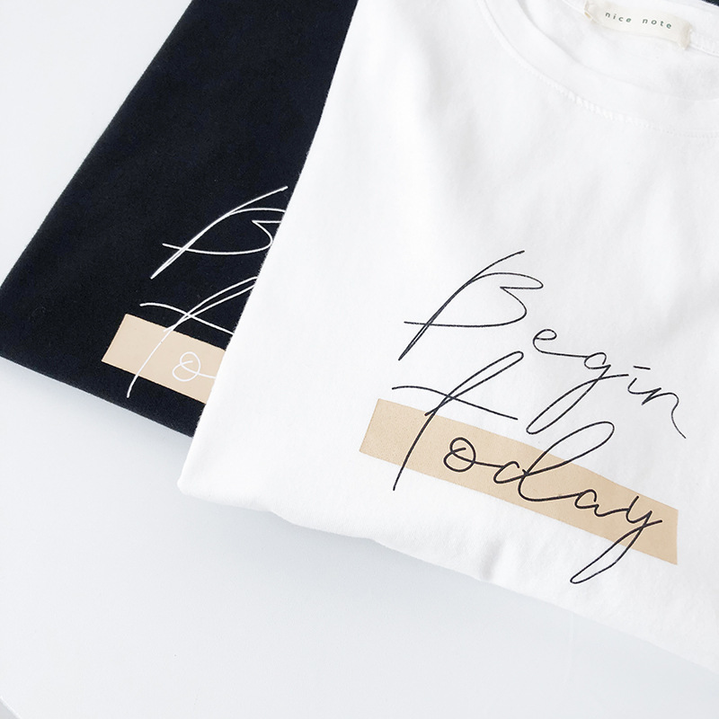 H6b8670613f6c4c0199287efb0492c536J - Letter Women T-Shirt O Neck Short Sleeve Loose Casual Pure Cotton Girls Spring Thick Pullovers Femme Fashion Clothings