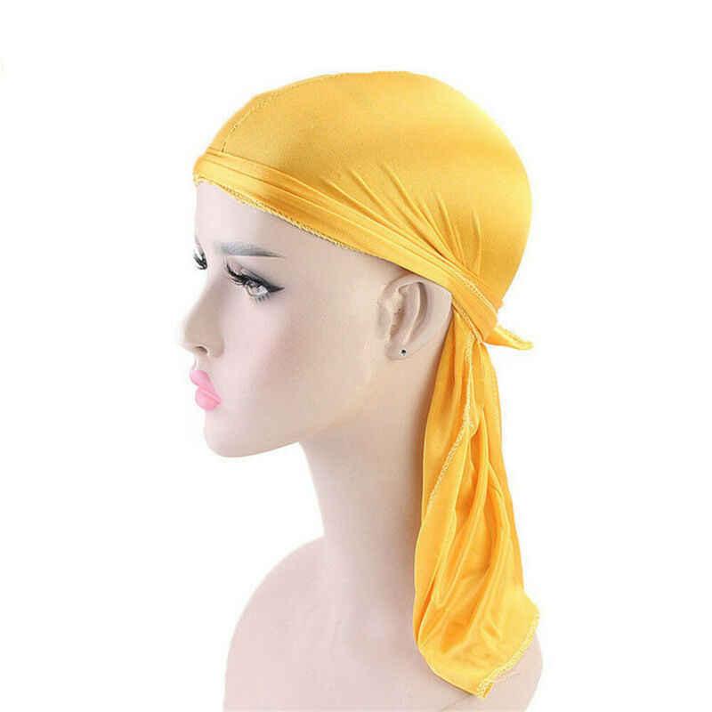 แฟชั่นผู้ชายซาติน Durags ผ้าพันคอ Turban วิกผมโจรสลัดหมวก Silky Durag Headwear