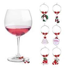 6Pcs Weihnachten Tasse Dekoration Ringe Wein Glas Anhänger für Haus Tisch Dekoration Party Neue Jahr Produkt