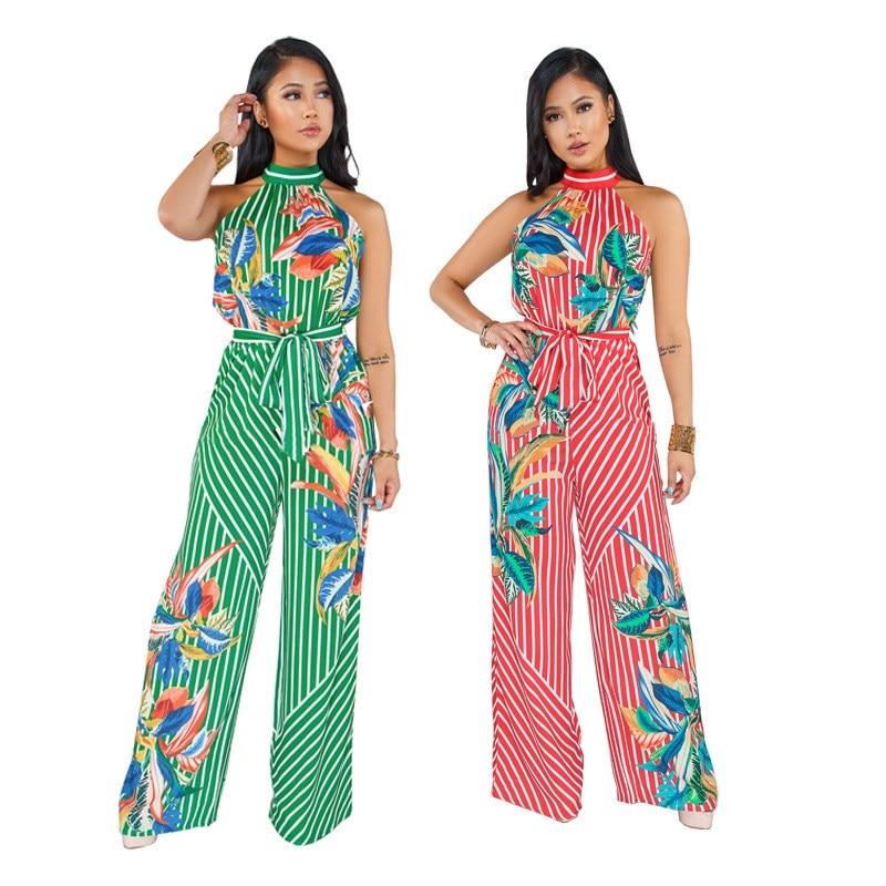 Nice Women Flora Print Stripe Jumpsuit Sleeveless Wide Leg Playsuit Plus Size Halter Lace Up Overalls