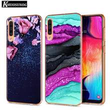 Clear Soft TPU Cover Luxury Water Blue Gold Effect for Samsung Galaxy A70 A90 A80 A60 A50 A40 A30S A20E A20S A10 Phone Case(China)