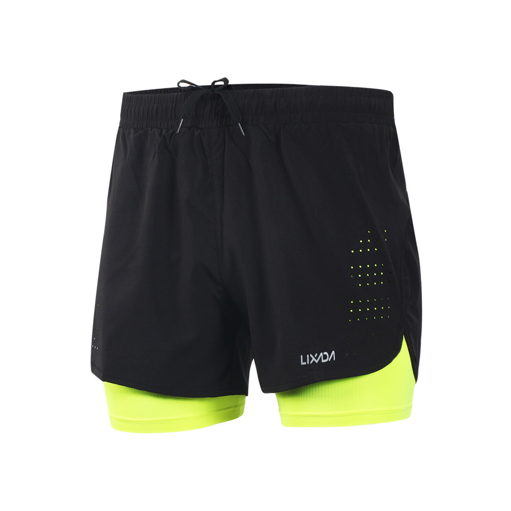 Lixada Men's 2-in-1 Running Sport Shorts Quick Drying Breathable Gym Training Exercise Jogging Cycling Shorts With Longer Liner 11