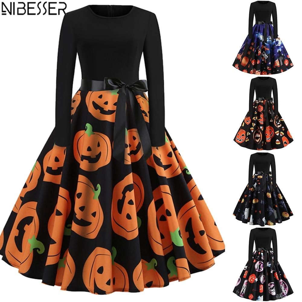 Halloween Orange Dresses for Women Vintage Pumpkins Printed Long Sleeve Evening Party Swing Dress