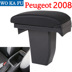 Image 2 - for Peugeot 2008 armrest box universal car center console caja  modification accessories double raised with USB No assembly