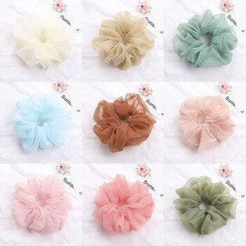 Gomas elásticas de Organza para el pelo de talla grande, gomas para el pelo, gomas para el pelo, accesorios para corbatas de pelo