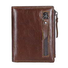Western Genuine Leather Double Zipper Men Wallet Retro Cow Short Purse