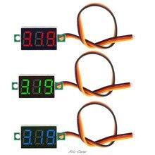 Mini 0.36 polegada dc 0-100v 3 bits digital display led vermelho medidor de tensão do painel voltímetro tester