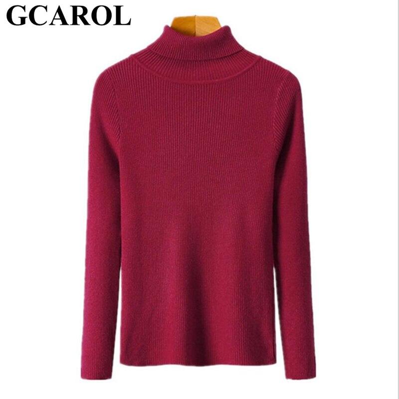 GCAROL automne hiver pull à col roulé Stretch Core filé tricot pull Slim chaud de base rendu tricoté pull OL tops basiques