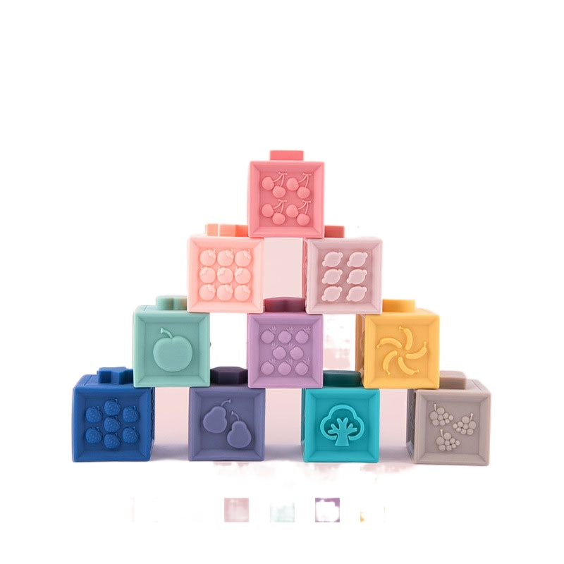 12pcs DIY Baby Soft Rubber Montessori Baby Building Blocks Feel Touch Bite Early Education Educational Toys Preschool for Kids