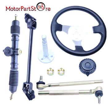 Steering Wheel Assembly Kit Tie Rod Rack Adjustable Shaft Package FOR GO KART GO CART 150cc Cart ATV Quad Dirt Pit Bike Parts