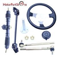 Steering Wheel Assembly Kit Tie Rod Rack Adjustable Shaft Package FOR GO KART GO CART 150cc Cart ATV Quad Dirt Pit Bike Parts