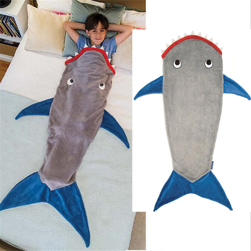 Children Winter Shark Mermaid Sleeping Blanket Sleeping Swaddle Soft Wool Children Sleeping Bag Christmas Birthday Gift For Kids