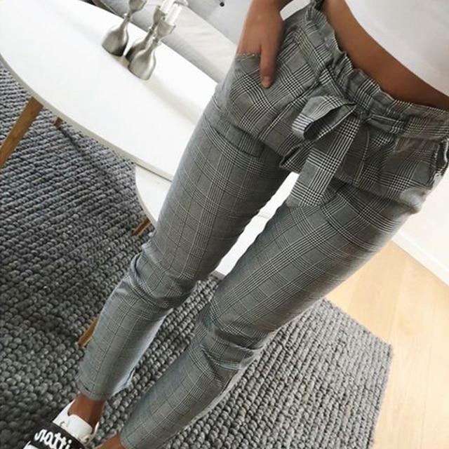 Women Fashion Plaid Pleated High Waist Skinny Pencil Pants Trousers with Sash Sporting Black Casual Streetwear 9