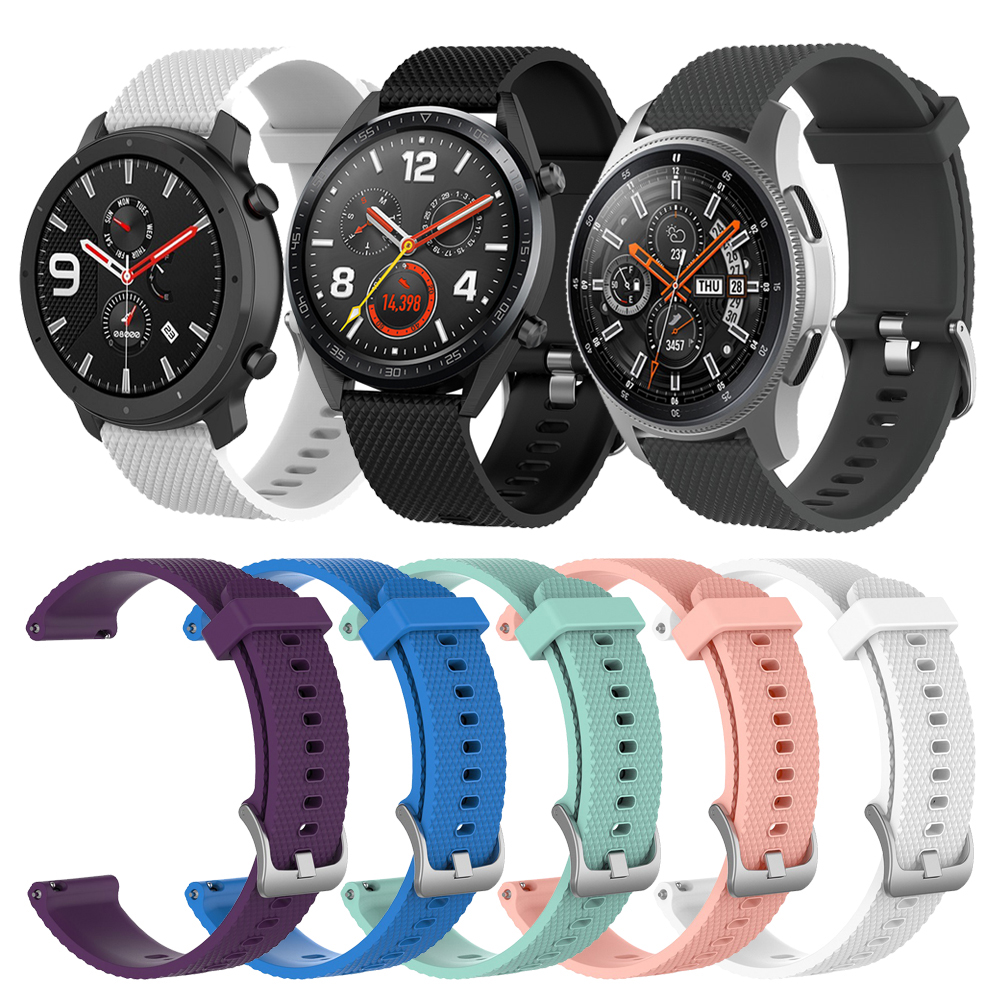 20mm 22mm Texture Silicone Band For Samsung Galaxy 46mm 42mm/Active/S3/S2 Strap For Amazfit GTR/ BIP/Huawei Watch 2/GT Watchband