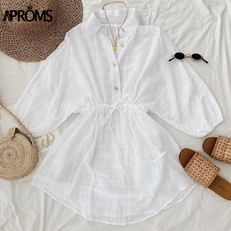 Aproms Elegant White Plaid Shirt Dress Women Autumn Half Sleeve Loose Dresses Big Size Streetwear Casual Tunic Cotton Dress 2020 2