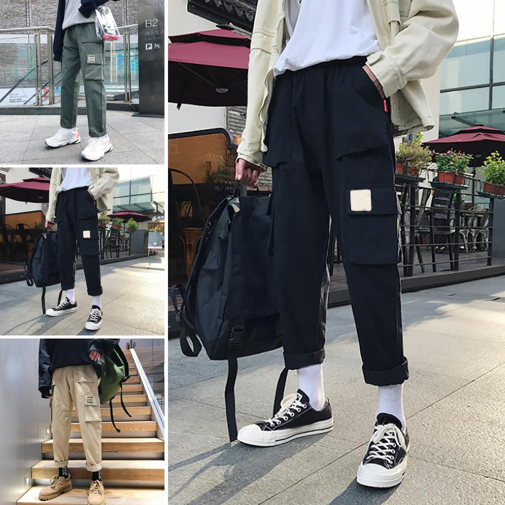 Casual Men Solid Color Multi Pockets Loose Straight Trousers Cotton Cargo Pants Male Spring Streetwear Overalls Sweatpants