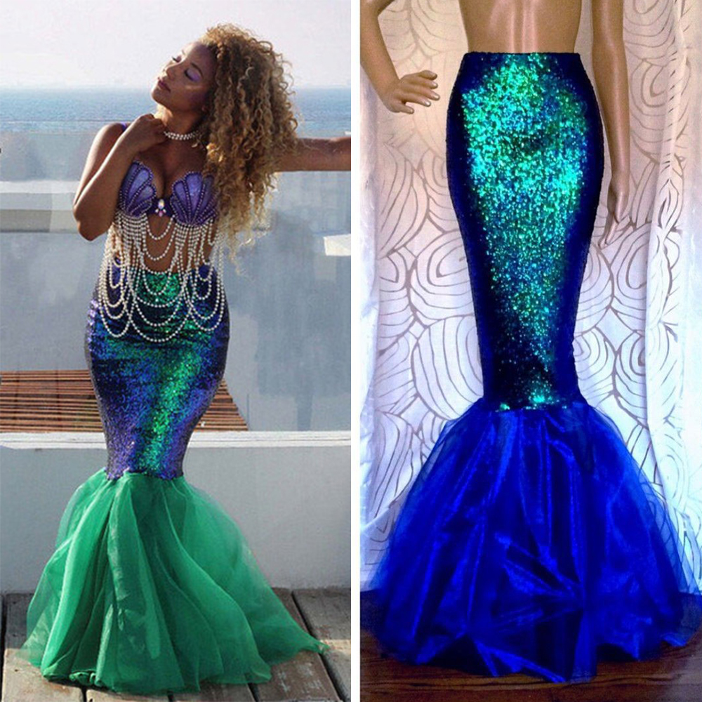 Wipalo <font><b>Sexy</b></font> Mermaid Womens Adult Costume <font><b>Halloween</b></font> Costume Fancy Party Sequins Long Tail Full Skirt Maxi Dress Women Clothes image