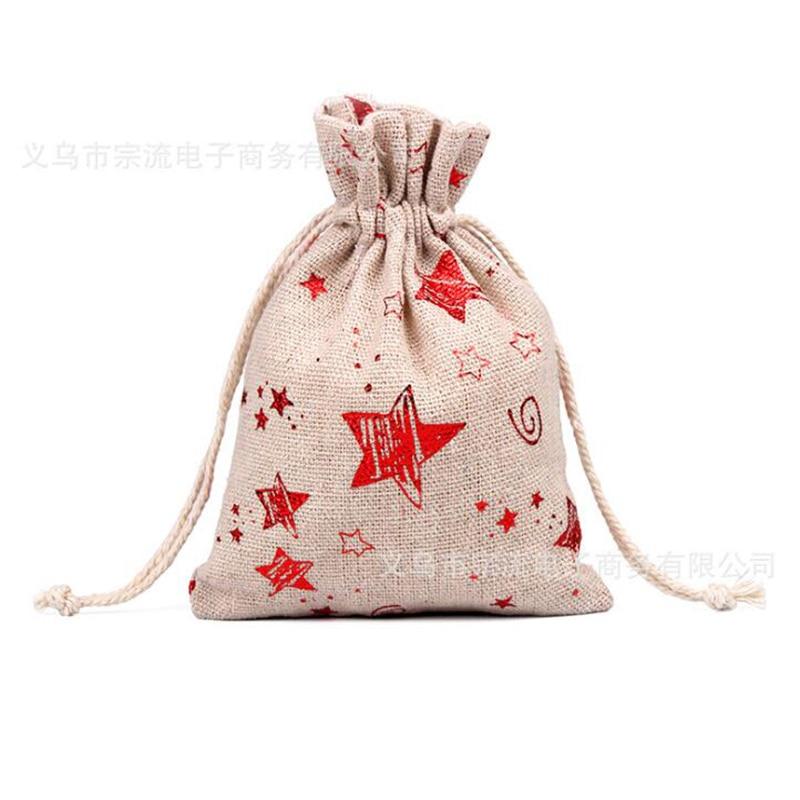Drawstring Bag Red Snowflake Elk Bunches Fashion Women Printing Travel Small Men Casual Bags Unisex Drawstring Cotton Small New