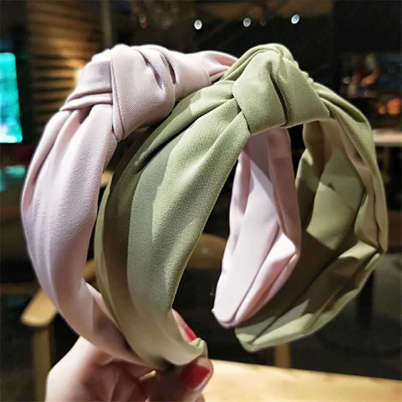 Solid Color Cloth Cross Hair Band Headband Turban for Women Lady Girls Wide Plastic Hair Hoop Bezel Hair Bands Accessories