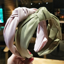 Solid Color Cloth Cross Hair Band Headband Turban for Women Lady Girls Wide Plas