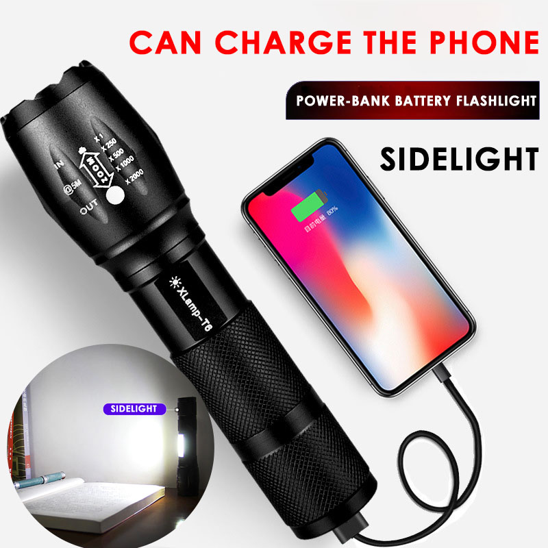 T6 Led Flashlight High Power Rechargeable Usb Lantern Powerful Tactical Torch Camping Hunting Lamp Built-in Lithiumion Battery